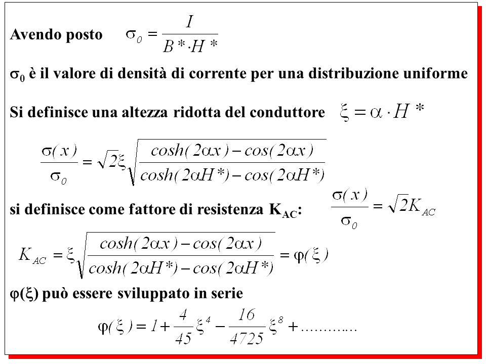 Avendo posto 0 è il valore di densità di corrente per una distribuzione uniforme. Si definisce una altezza ridotta del conduttore.
