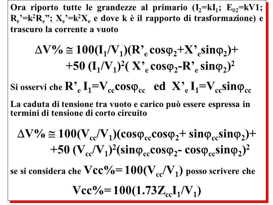 V%  100(I1/V1)(R'e cos2+X'esin2)+