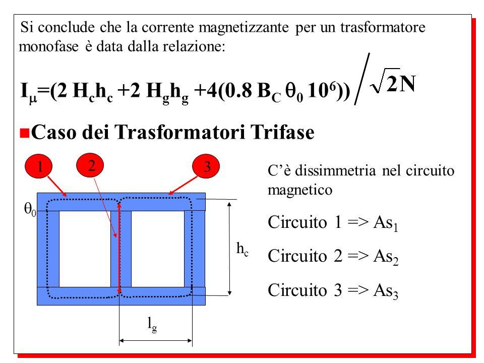 I=(2 Hchc +2 Hghg +4(0.8 BC 0 106)) Caso dei Trasformatori Trifase
