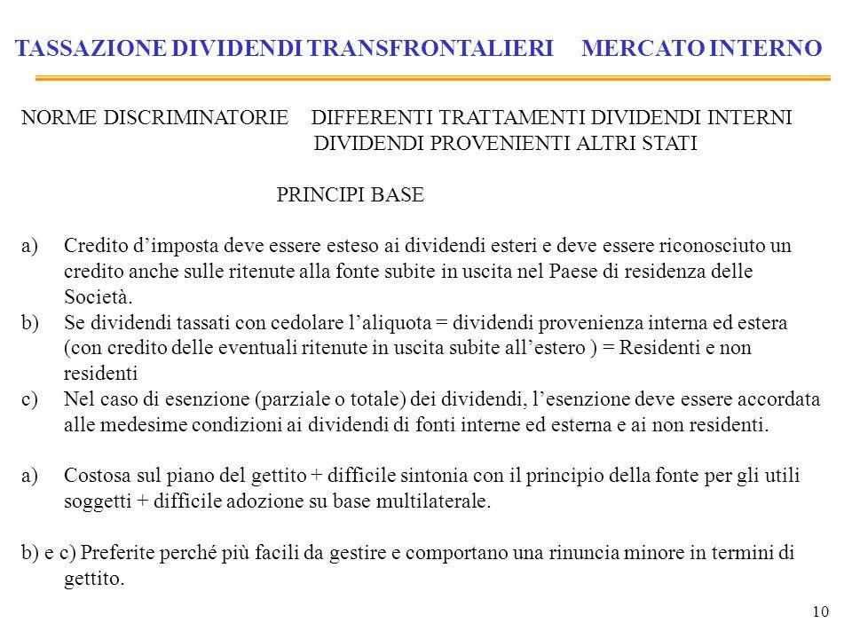 TASSAZIONE DIVIDENDI TRANSFRONTALIERI MERCATO INTERNO
