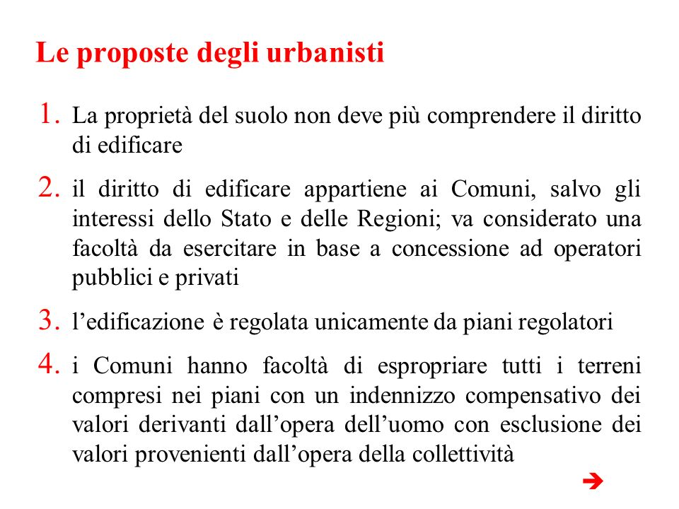 Le proposte degli urbanisti