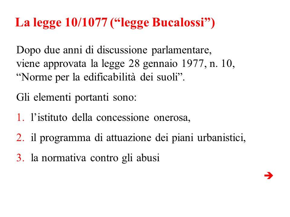 La legge 10/1077 ( legge Bucalossi )