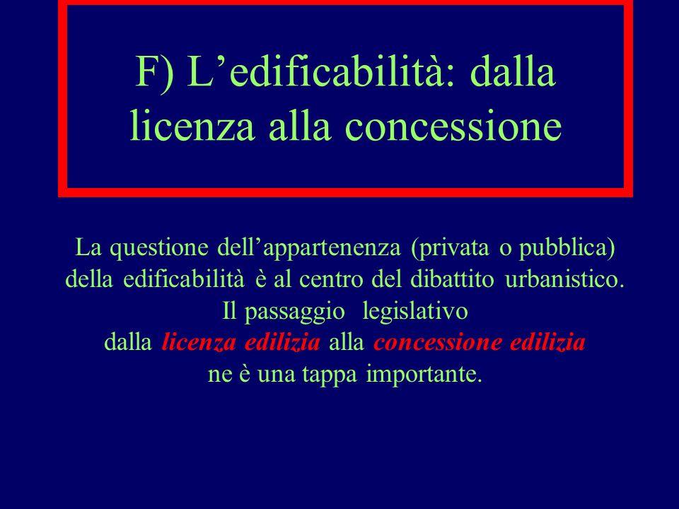 F) L'edificabilità: dalla licenza alla concessione
