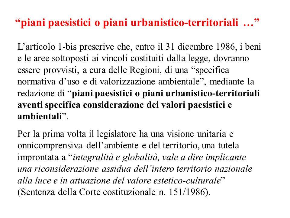 piani paesistici o piani urbanistico-territoriali …