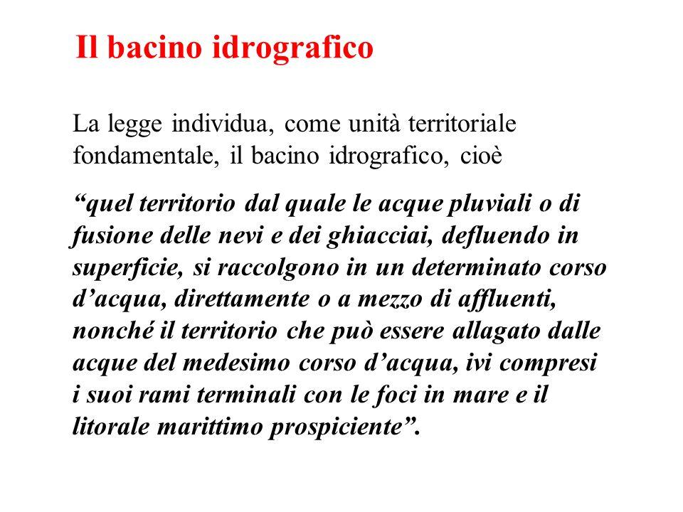 Il bacino idrografico La legge individua, come unità territoriale fondamentale, il bacino idrografico, cioè.