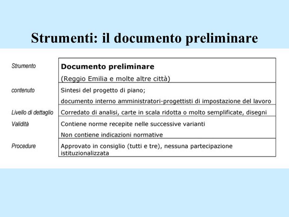 Strumenti: il documento preliminare
