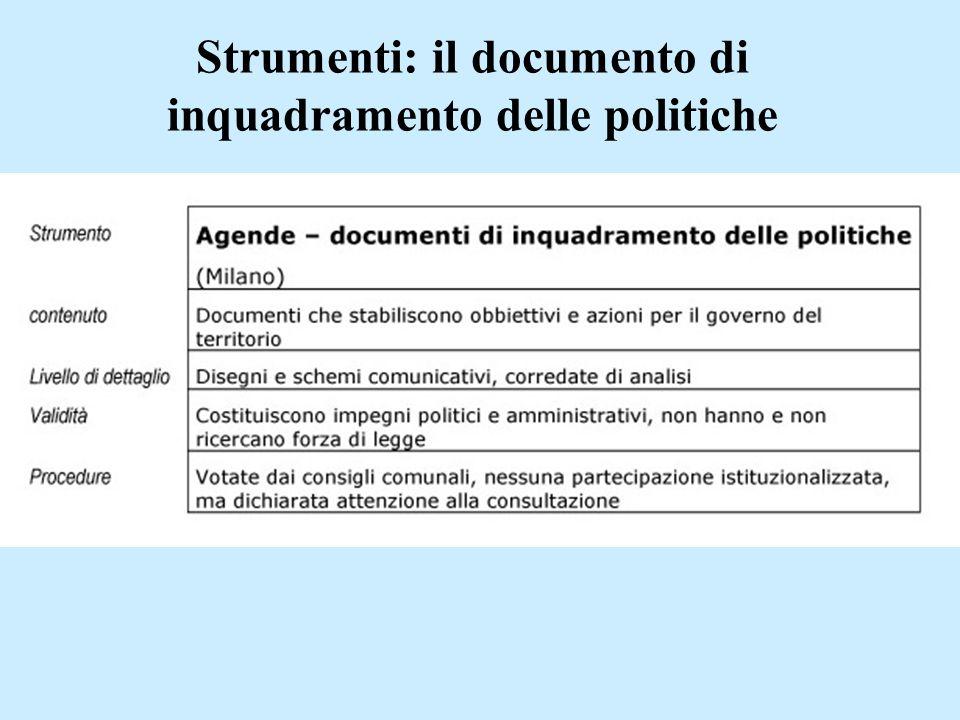 Strumenti: il documento di inquadramento delle politiche