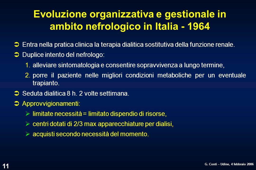 Evoluzione organizzativa e gestionale in ambito nefrologico in Italia - 1964
