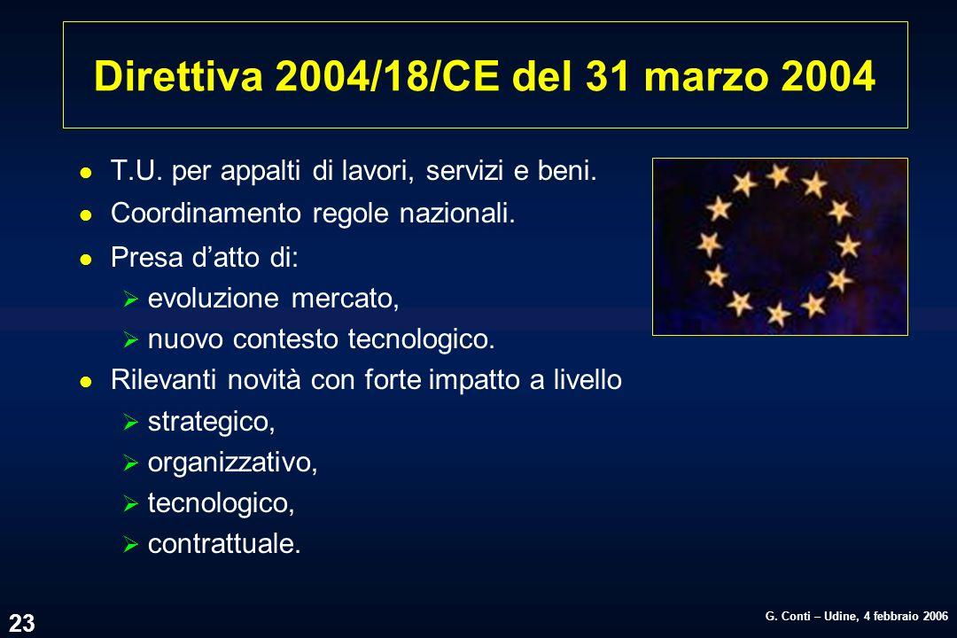 Direttiva 2004/18/CE del 31 marzo 2004