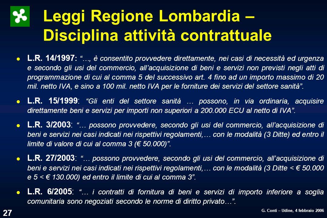 Leggi Regione Lombardia – Disciplina attività contrattuale