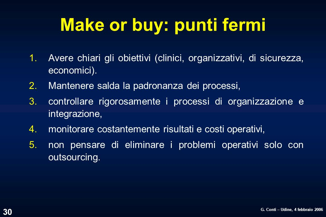 Make or buy: punti fermi