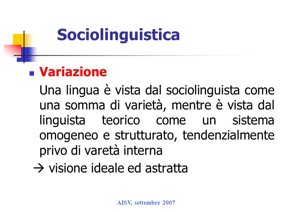 Sociolinguistica Variazione