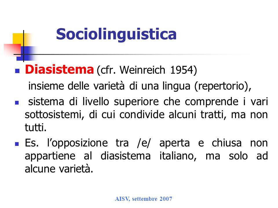 Sociolinguistica Diasistema (cfr. Weinreich 1954)