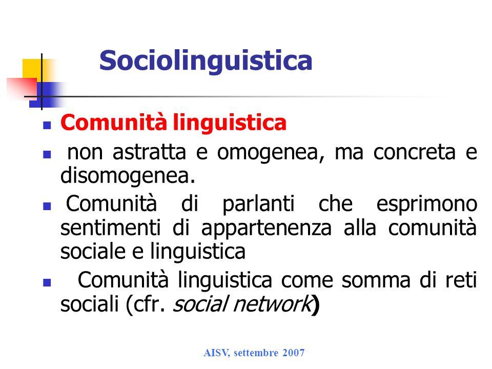 Sociolinguistica Comunità linguistica