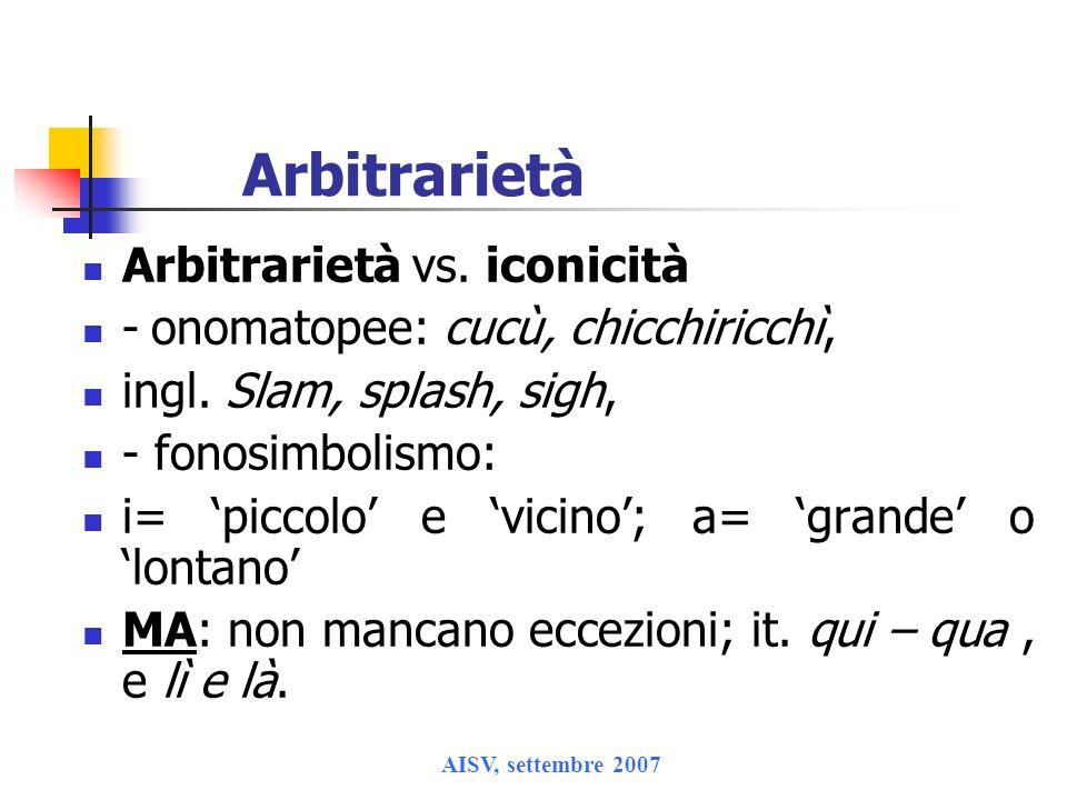 Arbitrarietà Arbitrarietà vs. iconicità