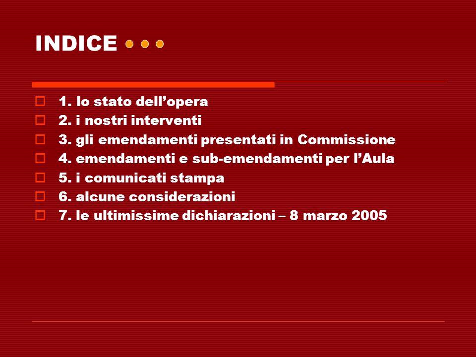 INDICE 1. lo stato dell'opera 2. i nostri interventi