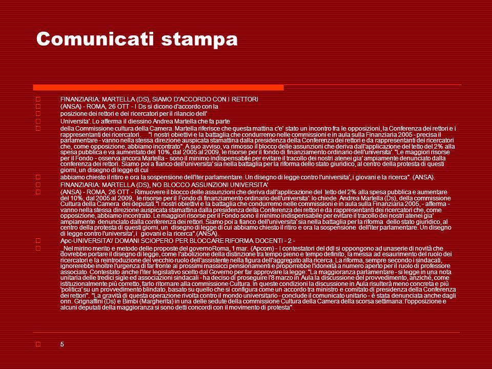 Comunicati stampa FINANZIARIA: MARTELLA (DS), SIAMO D ACCORDO CON I RETTORI. (ANSA) - ROMA, 26 OTT - I Ds si dicono d accordo con la.