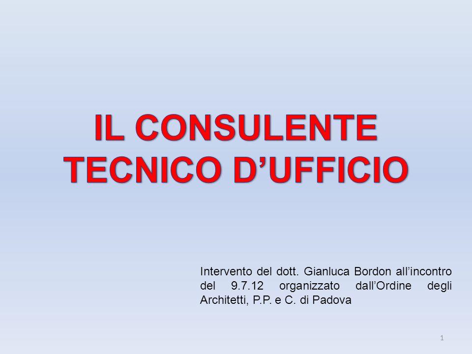 IL CONSULENTE TECNICO D'UFFICIO