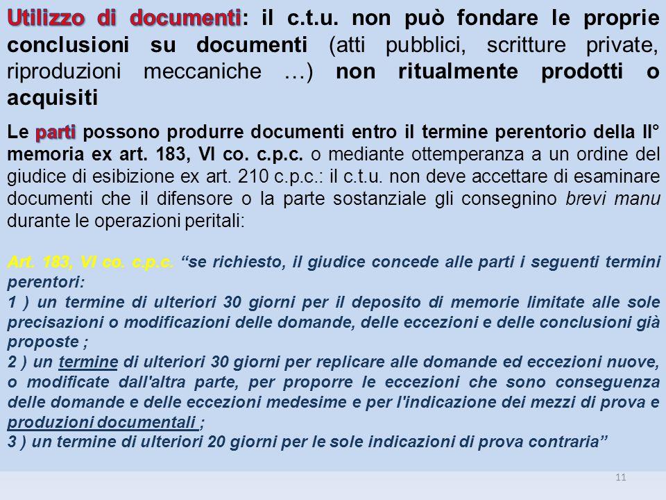 Utilizzo di documenti: il c. t. u