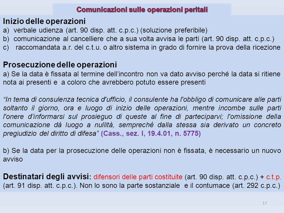 Comunicazioni sulle operazioni peritali