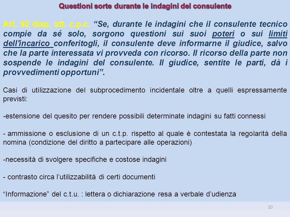Questioni sorte durante le indagini del consulente