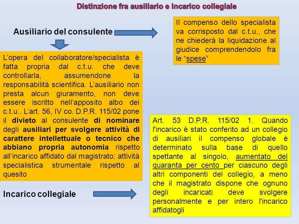 Distinzione fra ausiliario e incarico collegiale