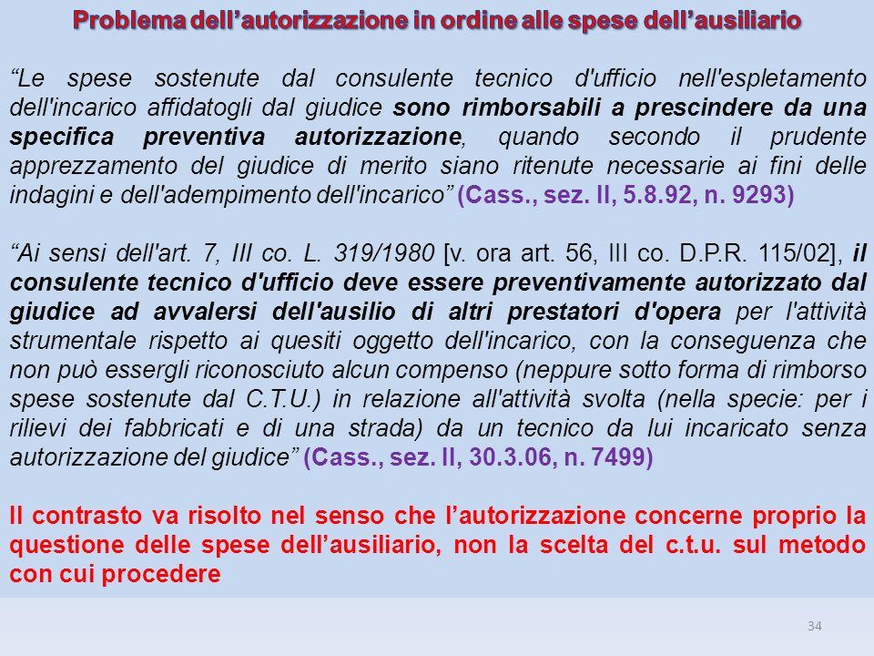 Problema dell'autorizzazione in ordine alle spese dell'ausiliario