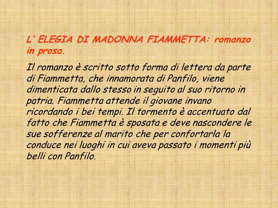 L' ELEGIA DI MADONNA FIAMMETTA: romanzo in prosa.