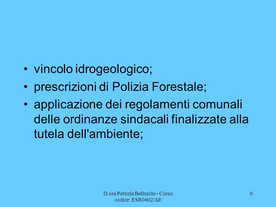 D.ssa Patrizia Belluschi - Corso codice: ESR0602/AE