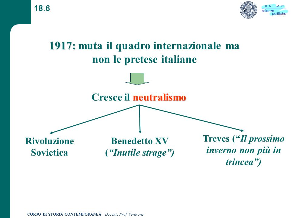 1917: muta il quadro internazionale ma non le pretese italiane