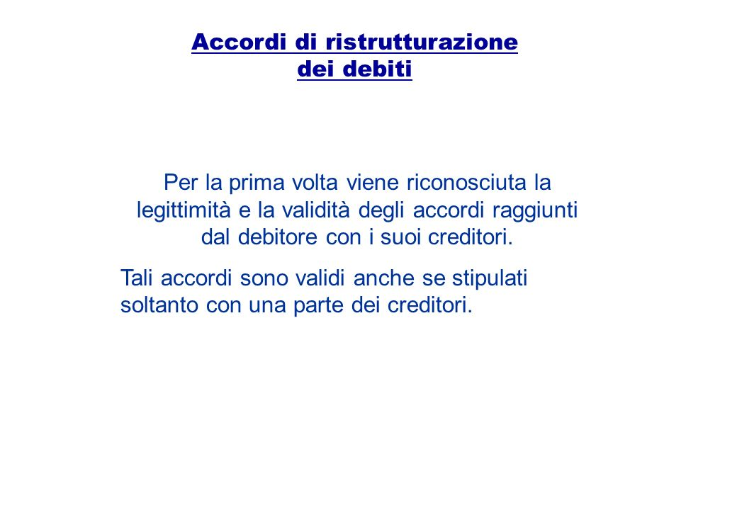Accordi di ristrutturazione dei debiti