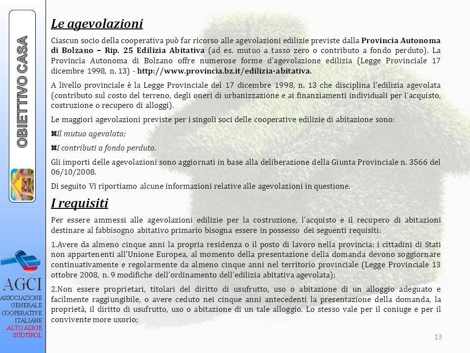 Le agevolazioni OBIETTIVO CASA I requisiti