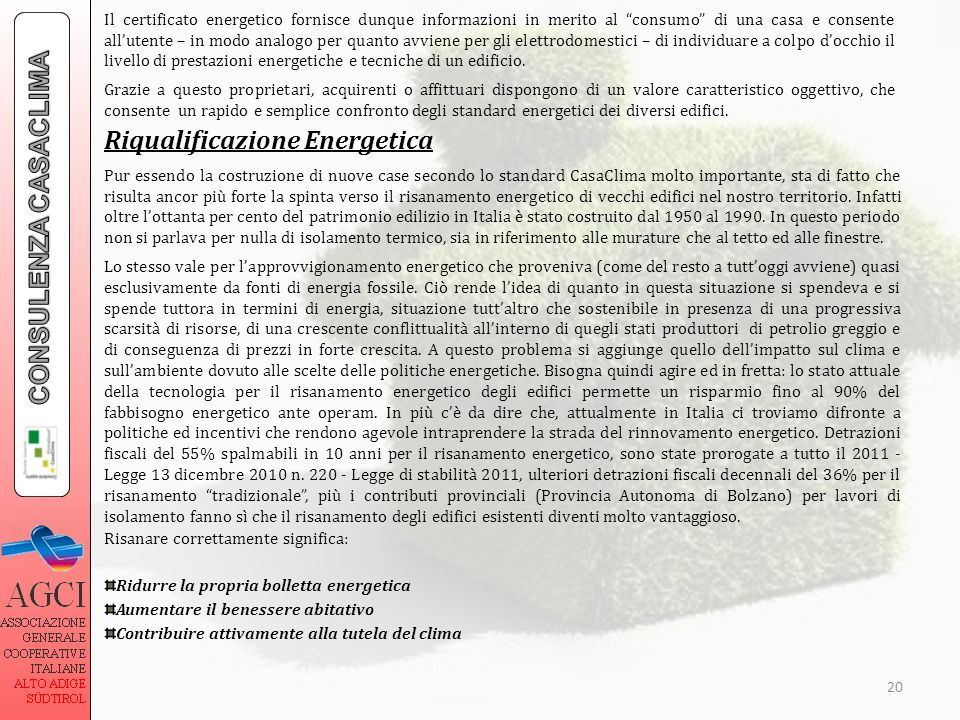 Riqualificazione Energetica CONSULENZA CASACLIMA