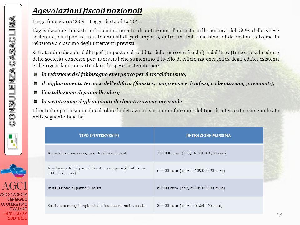 Agevolazioni fiscali nazionali