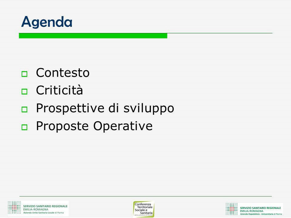 Agenda Contesto Criticità Prospettive di sviluppo Proposte Operative