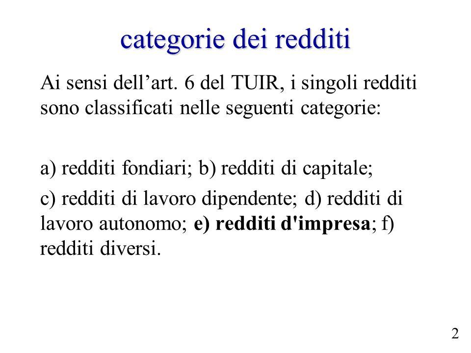 categorie dei redditiAi sensi dell'art. 6 del TUIR, i singoli redditi sono classificati nelle seguenti categorie: