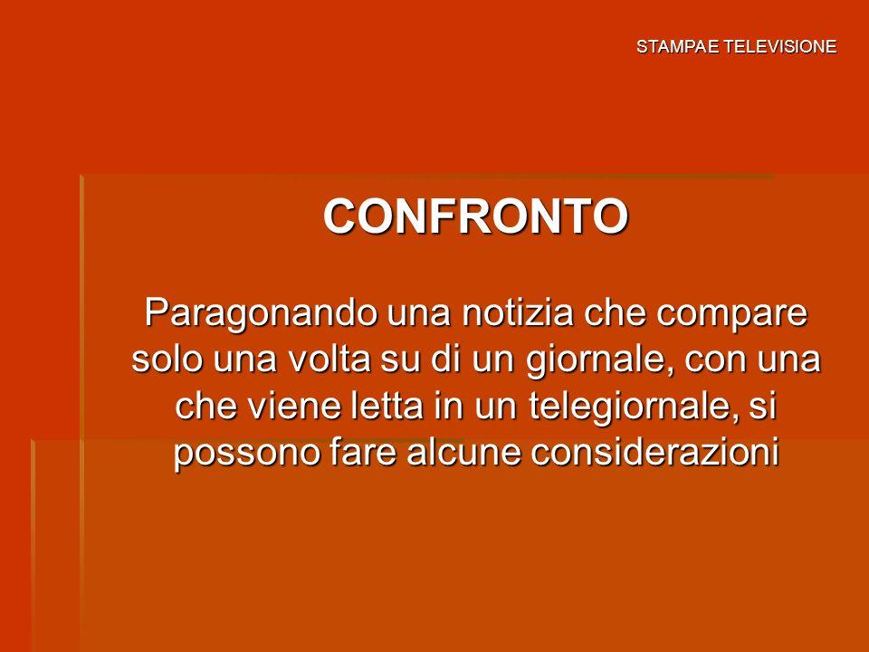 STAMPA E TELEVISIONE CONFRONTO.