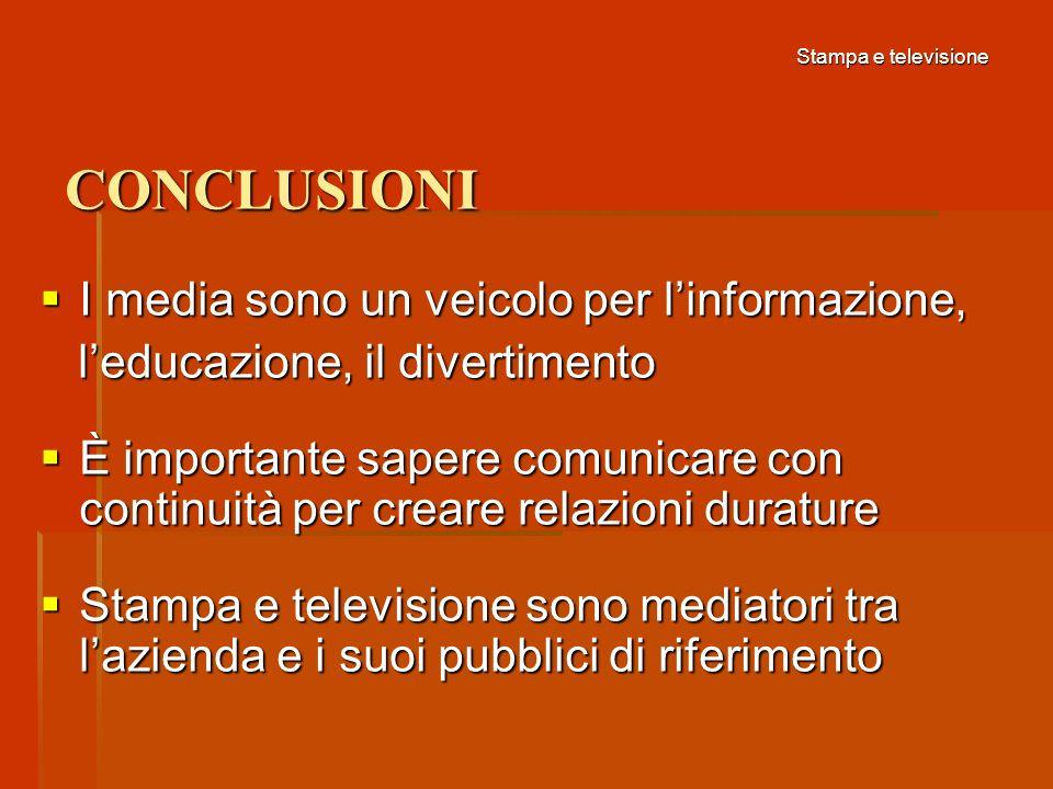 CONCLUSIONI I media sono un veicolo per l'informazione,