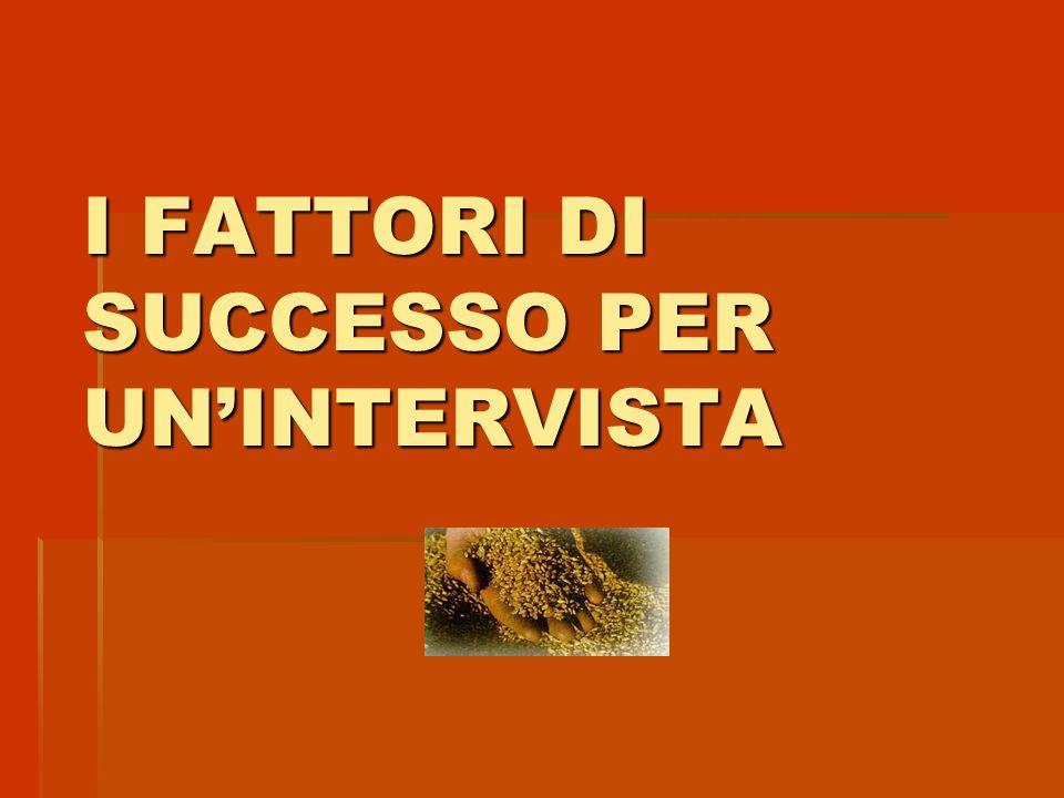 I FATTORI DI SUCCESSO PER UN'INTERVISTA