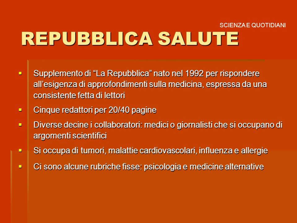 REPUBBLICA SALUTE SCIENZA E QUOTIDIANI.