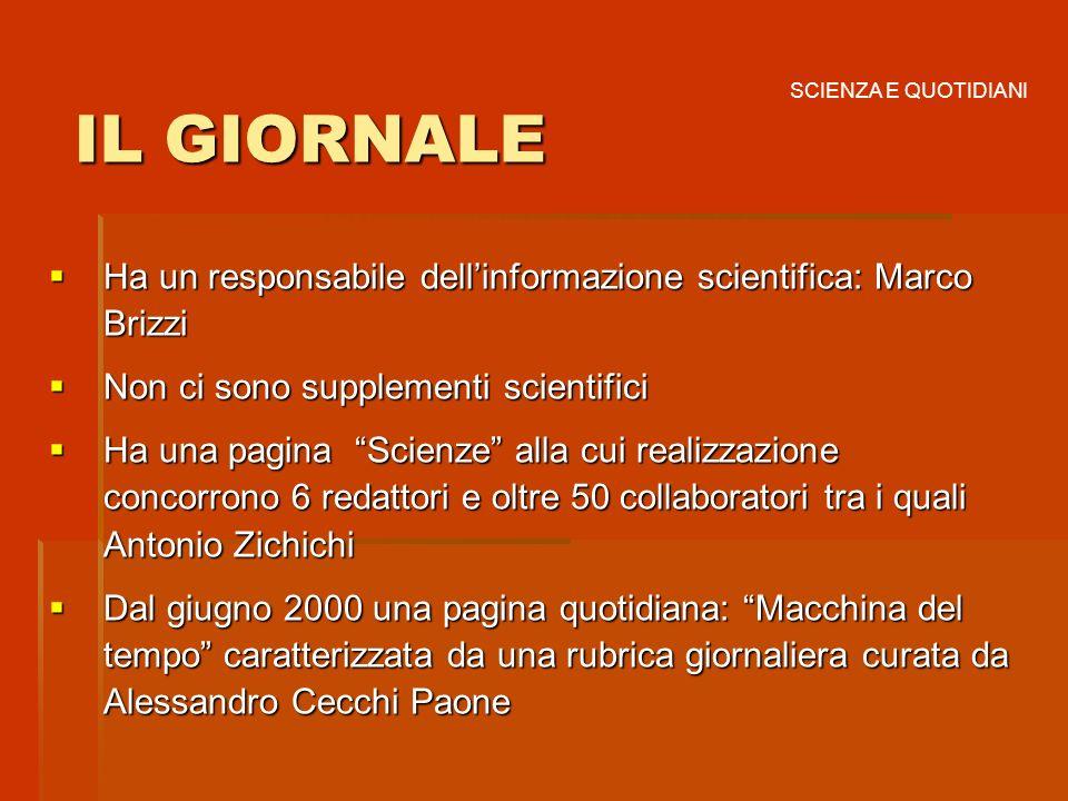 SCIENZA E QUOTIDIANIIL GIORNALE. Ha un responsabile dell'informazione scientifica: Marco Brizzi. Non ci sono supplementi scientifici.
