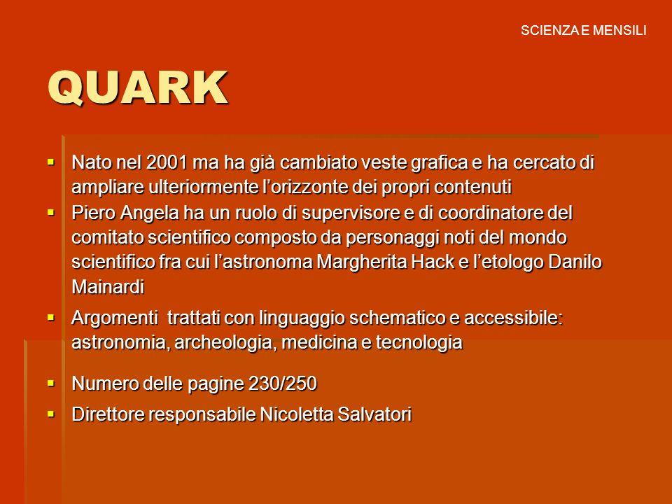 SCIENZA E MENSILI QUARK. Nato nel 2001 ma ha già cambiato veste grafica e ha cercato di ampliare ulteriormente l'orizzonte dei propri contenuti.