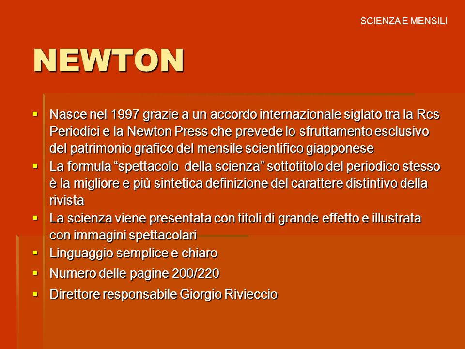 SCIENZA E MENSILINEWTON.