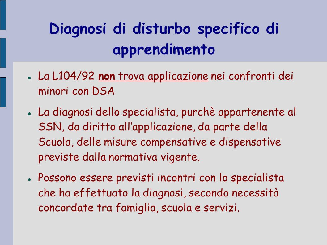 Diagnosi di disturbo specifico di apprendimento