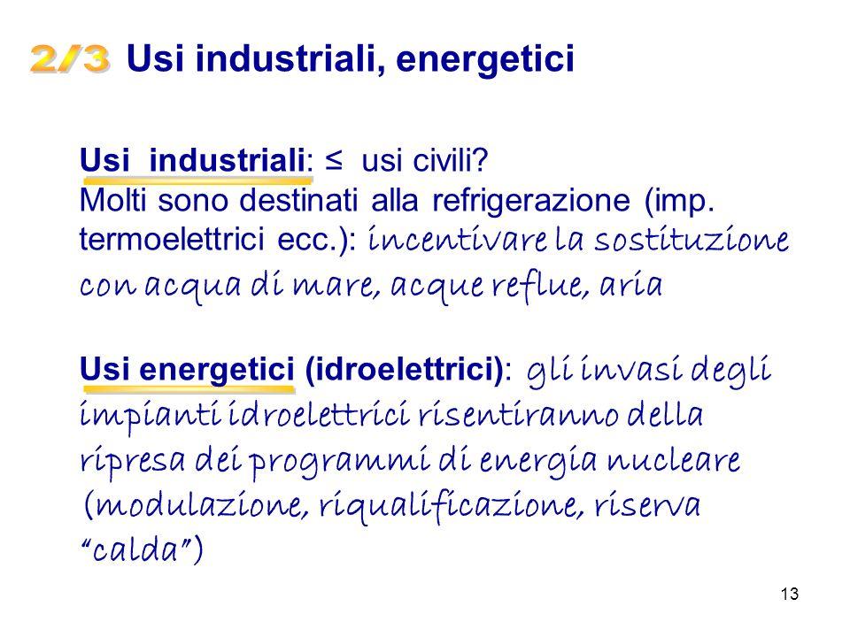 2 / 3 - - Usi industriali, energetici Usi industriali: ≤ usi civili