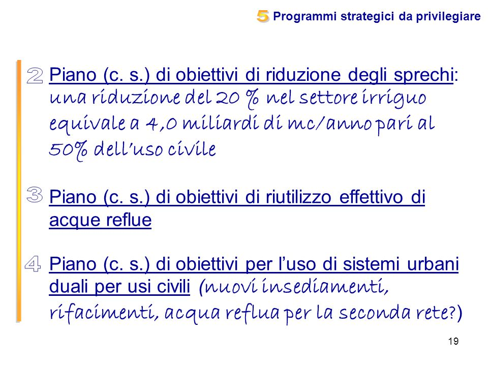 Programmi strategici da privilegiare