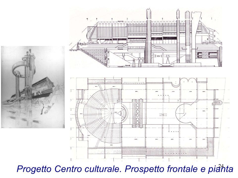 Progetto Centro culturale. Prospetto frontale e pianta