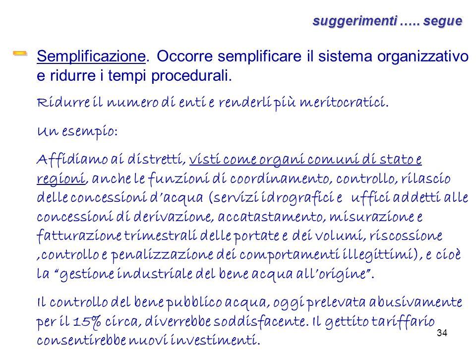 suggerimenti ….. segue Semplificazione. Occorre semplificare il sistema organizzativo e ridurre i tempi procedurali.