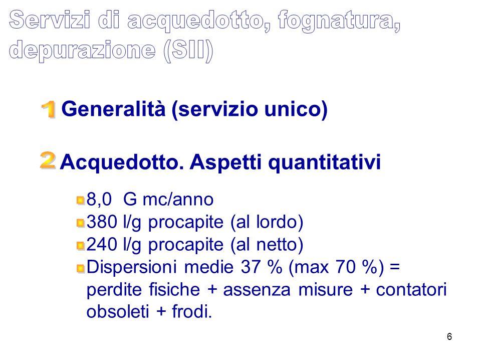 Generalità (servizio unico) Acquedotto. Aspetti quantitativi
