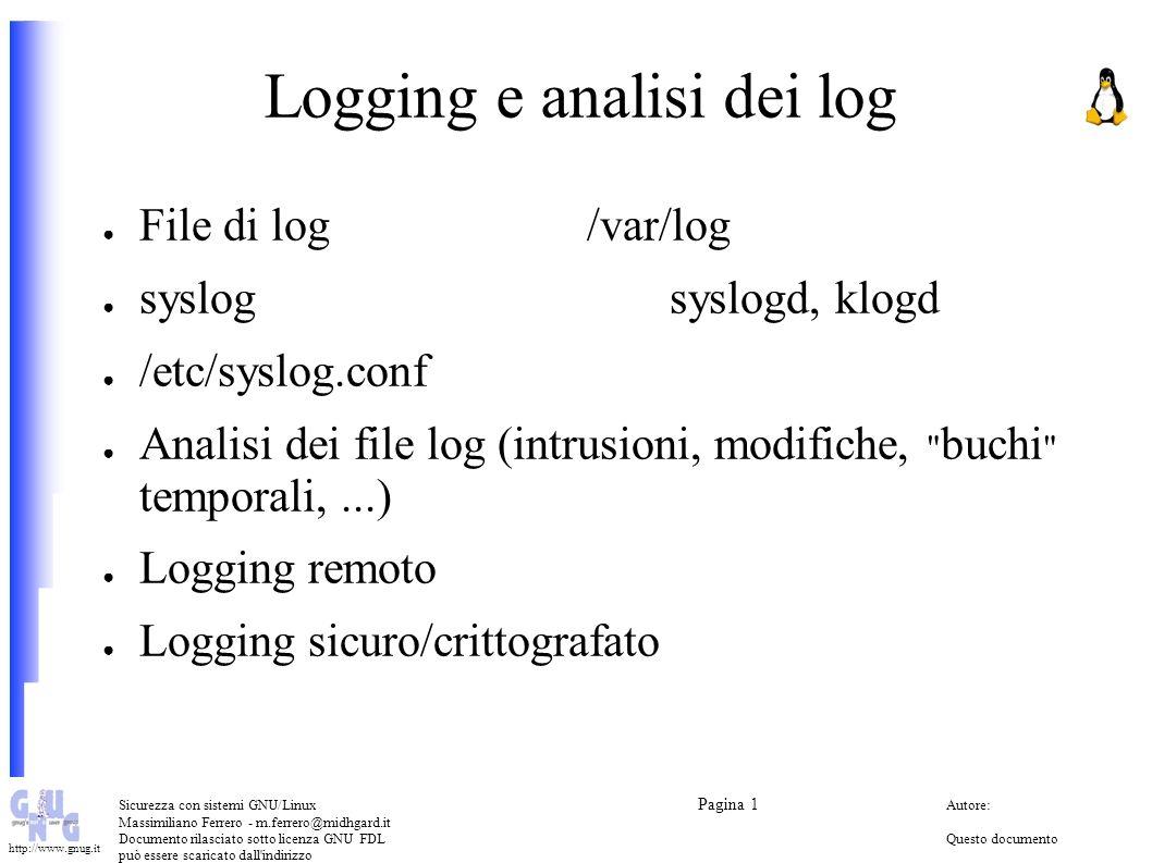 Logging e analisi dei log